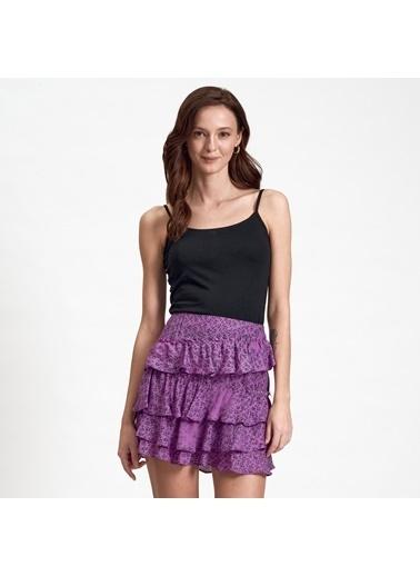 DKNY Jeans DKNY Jeans Fırfırlı Kadın Etek Mor